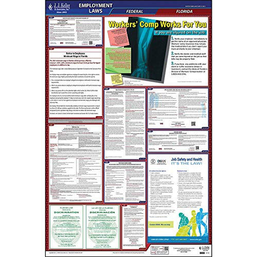 2021 Florida and Federal Labor Law Poster (English, FL State) - OSHA Compliant All-in-One Laminated Poster