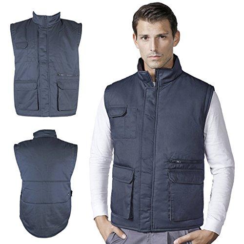 Chaleco Laboral multibolsillos - sin mangas - trabajo chaqueta - interior con velcro - bolsillos - ropa laboral ( workwear vest ) - color: gris marengo - tamaño: L