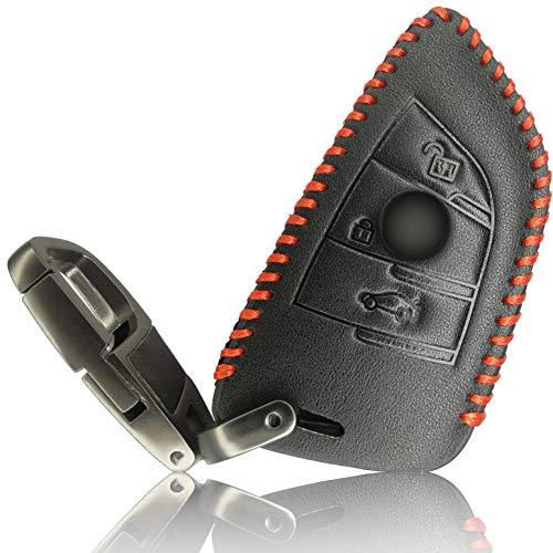 FoilsAndMore Funda Compatible con BMW Llave de Coche con 3-4 Botones Plegable (sólo Keyless-Go) - Piel Cubierta Protectora Cover Caso Clave in Negro Rojo