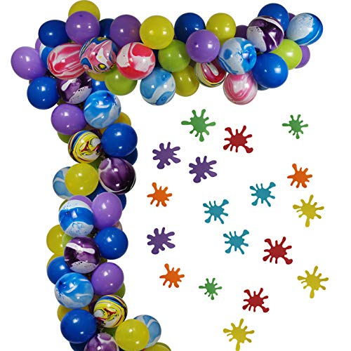 80PCS Slime Party Decorations Arch and Garland, Kids Birthday Party Balloons Creative Paint Balloons Thick Latex Helium Balloons Yellow Blue Purple Green for Birthday Baby Shower Back To School Party Supplies