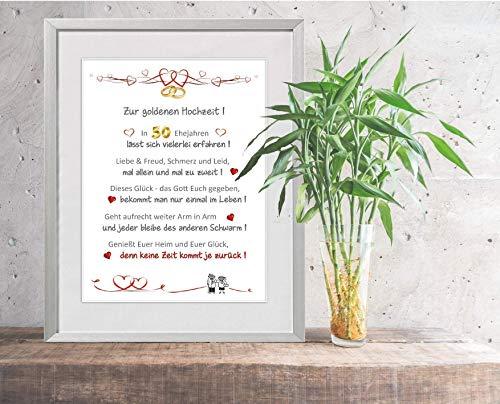 Goldene Hochzeit - liebevoll gestalteter, personalisierbarer Kunstdruck als Glückwunsch und Geschenk zur goldenen Hochzeit - 24 x 30 cm mit Passepartout - ohne Rahmen