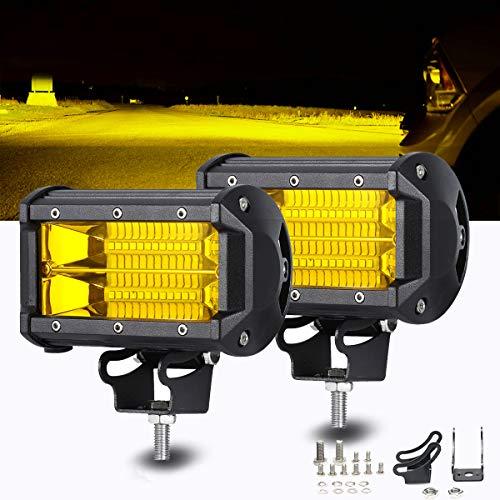 Chelhead Led Light Bar 2 PCS Waterproof 5 Inch 72W 24 Led Flood Beam Off Road Pod Lights Yellow Driving Fog Work Light Lamps For Trucks Offroad Jeep ATV UTV SUV Boat Marine Motorc