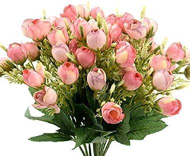 ZIHOO 4 lots de roses artificielles en soie pour décoration de salon, maison, tombe, hôtel, porte intérieure, extérieur, bleu