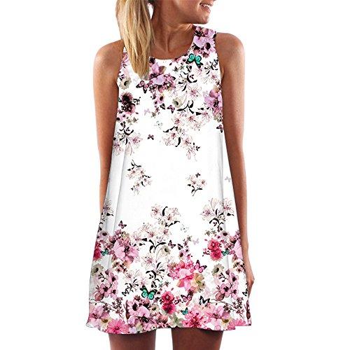 TWIFER Sommer Vintage Boho Kleider für Damen Strand Minikleid Ärmellose Lange Weste(Rosa,XXXL)