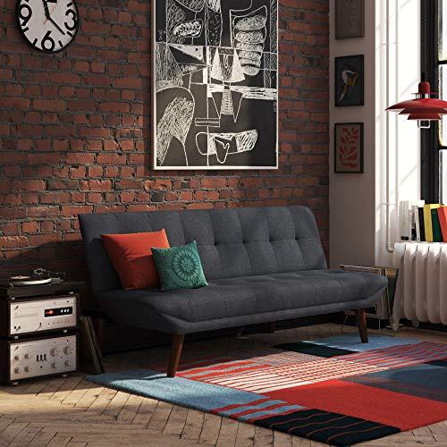DHP Adley Small Space Modern Convertible Sofa Bed Linen Futon, Navy Blue