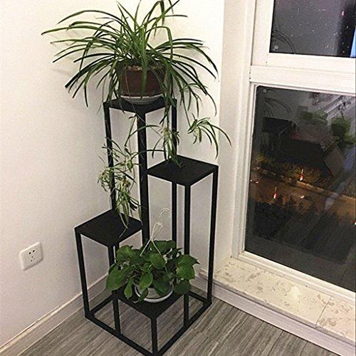 BR Nordique en fer forgé échelle fleur stand fleur pot étagère salon intérieur Chlorophytum décoratif cadre d'affichage au sol 40 * 40 * 120 CM (Couleur : Iron panel)