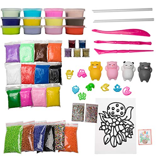 zxyyxz DIY Slime kit. Slime Supplies for Boys and Girls handicrafts, Slime Making kit, Including 12 Crystal Slime, Foam Beads, etc.