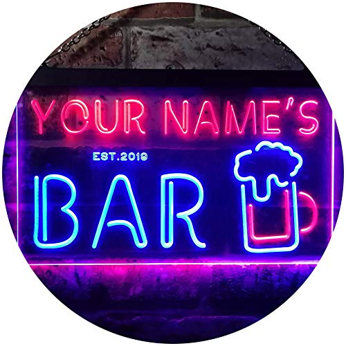ADVPRO Personalized Your Name Est Year Theme Bar Pub Club Den Cabin Beer Dual Color LED Neon Sign Blue & Red 16