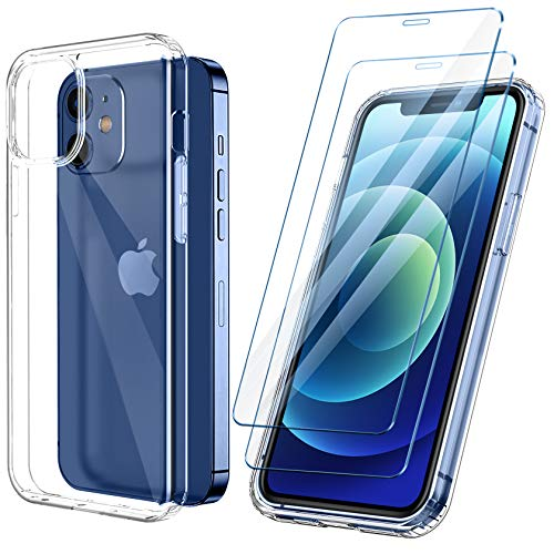 ivencase Funda Ultra híbrido Compatible con iPhone 12 Mini Carcasa Trasera Anti-amarilleo con 2 Piezas de Vidrio Templado -Transparente