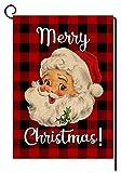 BLKWHT Red Black Buffalo Christmas Santa Claus Small Garden Flag Vertical Double Sided Merry Christmas Burlap Yard Outdoor Decor 12.5 x 18 Inches (137215)