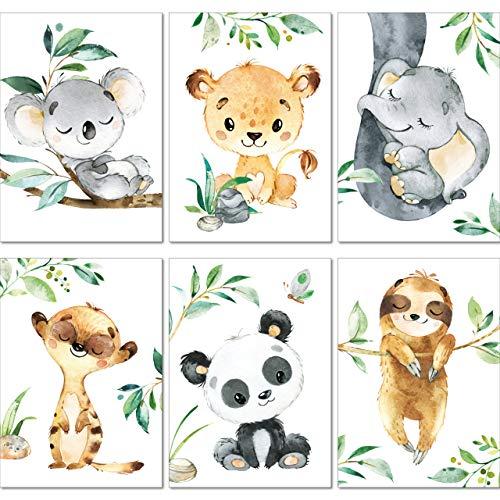 LALELU-Prints | A4 Bilder Kinderzimmer Deko Mädchen Junge | Zauberhafte Dschungel-Tiere | Poster Babyzimmer | 6er Set Kinderbilder (DIN A4 ohne Rahmen)