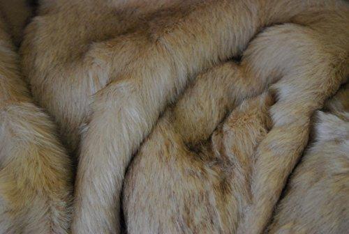 CRS Fur Fabrics Super Piel sintética Material de la Tela–Superior Beige de Pelo Largo