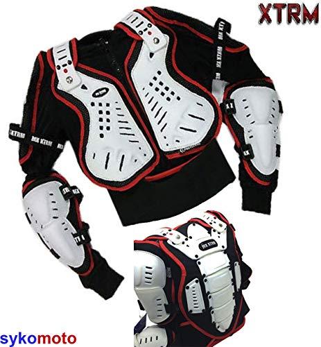 "XTRM Motorrad Körperschutz Erwachsene Brust Wirbelsäule Schulter Fahrrad Sicherheitsjacke Schwarz Weiß Rot Sport Motocross Offroad CE-zertifiziert (X-Small (35/36\"" Truhe))"
