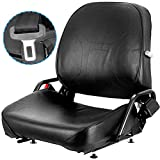 Mophorn Universal Forklift Seat Komatsu Style Folding Forklift Seat with Retractable Seatbelt and Adjustable Backrest Suspension Seat for Tractors Backhoes