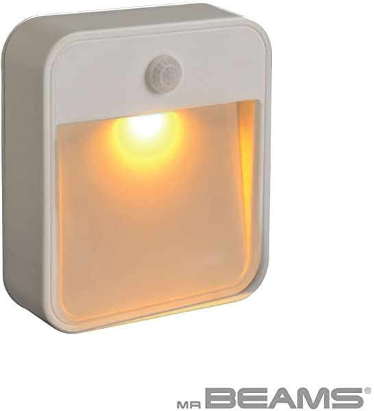 Mr Beams MB720A Sleep Friendly Battery Powered Motion Sensing LED Stick Anywhere Nightlight With Amber Color Light 1 Pack White