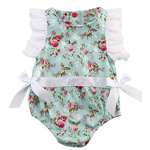 Amlaiworld Mono Bebé, Recién Nacido Ropa bebé Floral Cordón Trajes Mono Conjuntos 0-24 Mes (6-12 Mes, Verde)