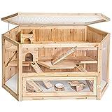 tectake Grande Cage en Bois pour Petits rongeurs, 3 étages, avec des Accessoires