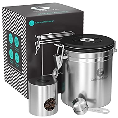Coffee Gator Stainless Steel Container - Canister with co2 Valve, Scoop, eBook and Travel Jar – Medium, Silver