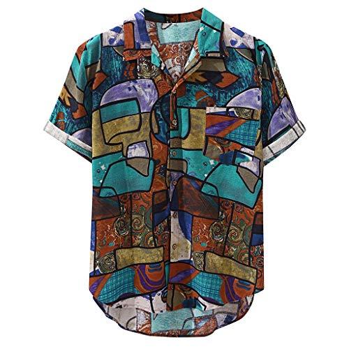Kanpola Herren Leinen Hemd Mit Muster Kurzarmhemd Oversize Shirt MäNner Casual Locker 3D Gedruckt Sommerhemden Mit Kent Kragen Hemdjacke