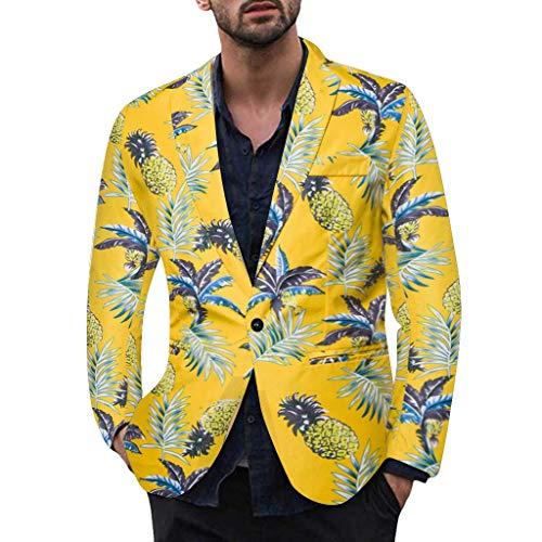 Vovotrade Heren Hawaii patroon Sakko pak jas voor vakantie vrije tijd bruiloft party heren één knop slim fit smokingjas vest jas blazer