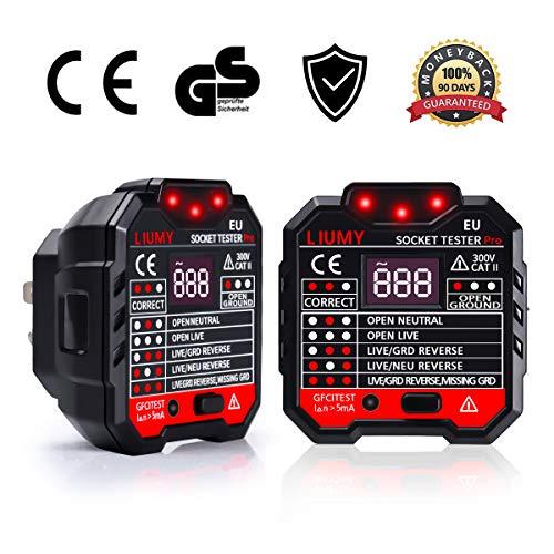LIUMY Advanced Steckdosen Tester, LCD Display 7 verschiedene Schemen Anzeigen, Automatischer Stromkreis-Detektor Polaritätsprüfer für Leiter, RCD Hintergrundbeleuchtung