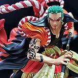 One Piece Anime Molly Kabuki Zoro One Sword Style Tens Zoro Versión Escultura Estatua Estatua Figura Decoración Patrón Figura 24cm Altura