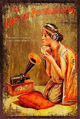 Edison Phonograph Metal Tin Sign 8x12 Inch Garage Bar Restaurant Club Decor