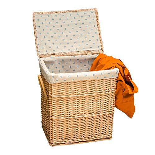 ZJWmgcwt Storage Basket Hamper Rattan Laundry Basket Wicker Wicker Bucket Household with Lid Loading Box (Color : Natural, Size : 443248cm)