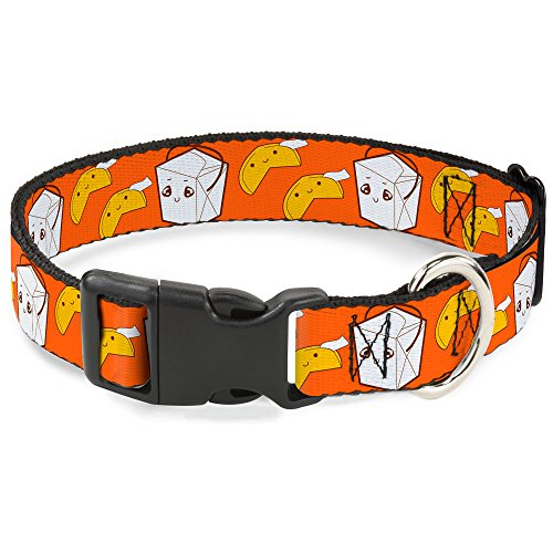 Buckle-Down Plastic Clip Collar - Take Out/Fortune Cookies Orange - 1' Wide - Fits 15-26' Neck - Large