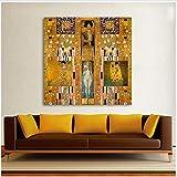 XingChen Arte de la Pared 40x40cm sin Marco La Pintura al óleo Moderna reúne a Gustav Klimt Canvas Art Wall Pictures para la Sala de Estar Decoración para el hogar Impresa