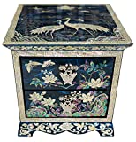 Nacre Inlay Mother of Pearl Wooden Jewelry Mirror Storage Chest 2 Drawer Box Crane Design Keepsake Treasure Gift Trinket Case Organizer (Blue)