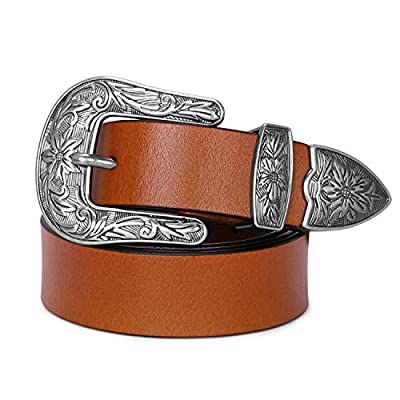 Womens Western Belt SANSTHS Boho Metal Buckle Cowgirl Belts for Jeans, Brown S