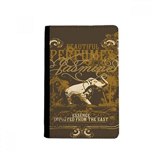 Elefante tropical marrom moldura estilo europeu porta-passaporte Notecase Burse carteira porta-cartões