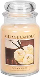 Village Candle Creamy Vanilla Large Glass Apothecary Jar Scented Candle, 21.25 oz, Ivory