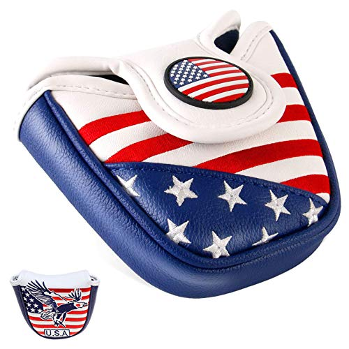 Amy Sport Mallet Putter Headcover Pack USA Flag Eagle Star Design, Synthetic Leather Magnetic Closure Headcover for All Brands Putters Clubs (1 Pack Mallet USA Eagle)