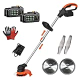 Battery Grass Trimmer with 3Pcs 6inch Saw Blade 24V Cordless Electric String Trimmer Powered Edger Lawn Mower Pruning Garden Tools Weed Brush Cutter Strimmer for Garden Clearing Weeds Flower Trees