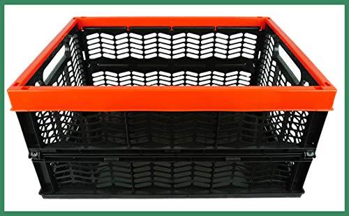 Novaliv Einkaufskorb Klappbox | 30L Rot Schwarz faltbar stabil| Klappkorb Tragebox Klappkiste Kitchen Storage Toy Basket Box Einkaufstasche Korb Küche