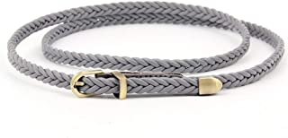 New Hand-Woven Belt Female pin Buckle Retro Casual Wild Thin Belt Waist Rope Decoration 607 Candys house (Color : Grey, Size : 103cm(Without Buckle))