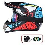R&P Casco de motocross, para adultos, para exteriores, casco de bicicleta de montaña, de cara completa, para motocross, todoterreno, motocross, motociclismo (rojo-azul, S)