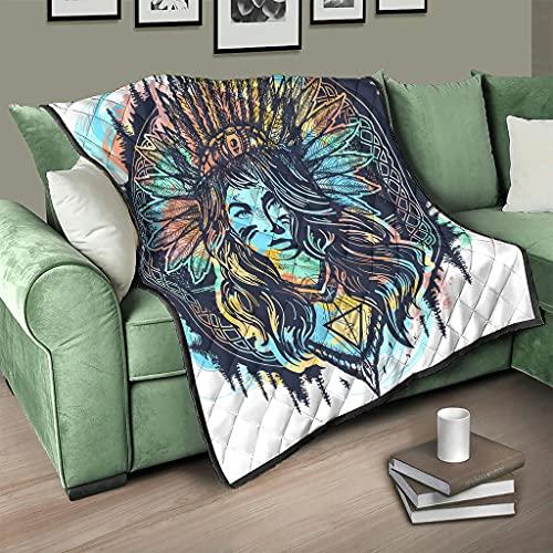 AXGM Colcha india Egipto para mujer, manta 3D digital, sillón blanco, 173 x 203 cm