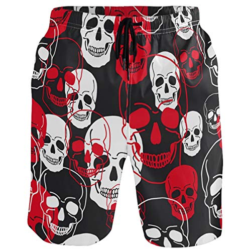 visesunny Cool Dead Skull Pattern Summer Men's Swim Trunks Quick Dry Bathing Suits Beach Holiday Party Swim Shorts