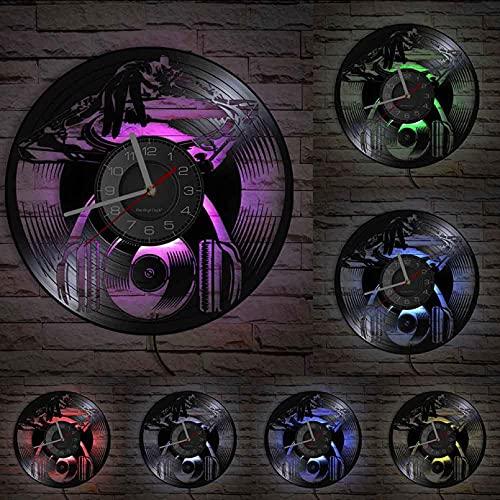 KDBWYC DJ Live Mezclador Vinilo música Disco Reloj de Pared máquina Discoteca Discoteca decoración Jockey Audio Vida Nocturna Arte Reloj silencioso