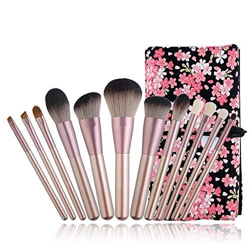 ZUEN 12pcs Maquillage mélange Brosse Ensemble, cosmétiques composent Outils avec Sac en Cuir PU soies synthétiques pinceaux de beauté, avec Beauté Blender Voyage