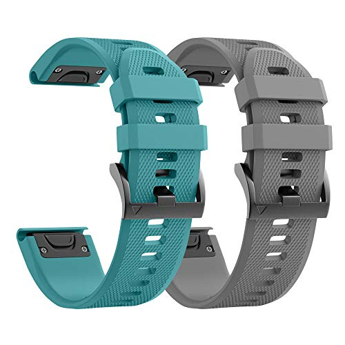 NotoCity Compatible with Forerunner 935 Watch Band Silicone Watch Strap Replacement for Fenix 5/Fenix 5 Plus/Fenix 6/Fenix 6 Pro/Forerunner 935/945/Approach S60/Quatix 5(Grey/Rock Blue)