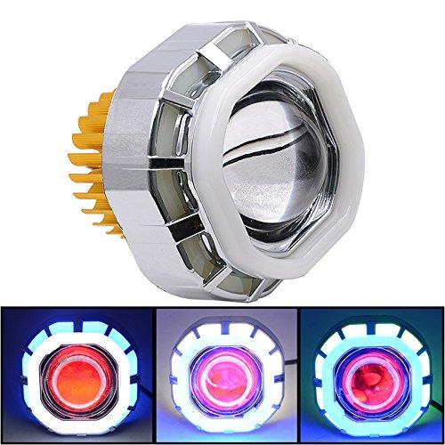 IQQI Super Helle 12V Motorrad-Universal-LED-Scheinwerfer Blinker Licht, Dual-Aperture Hallo/Low Beam LED Projektor-Scheinwerfer Angel Eyes Devil Eyes Für Motorrad,Blue+White