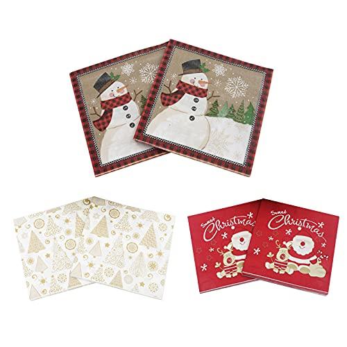 120 Hojas Servilletas Impresas Navideñas de Papel Servilletas de Decoración Navideña Servilletas de Papá Noel muñeco de...