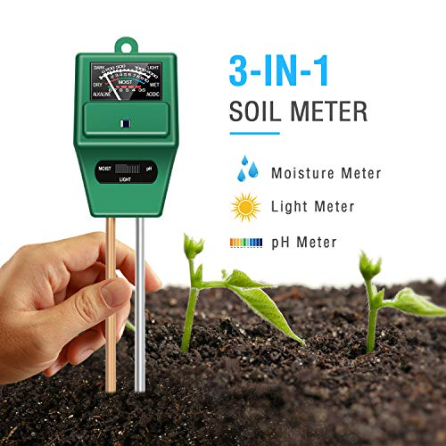 Find Cheap Atree Soil pH Meter, 3-in-1 Soil Test Kits with Moisture,Light and PH Tester for Garden, Farm, Lawn, Plants, Indoor & Outdoor (No Battery Needed)