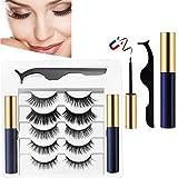 Kit d'eyeliner magnétique pour cils - Kit d'eyeliner magnétique pour cils magnétiques, cils réutilisables et pinces à épiler (5 paires)
