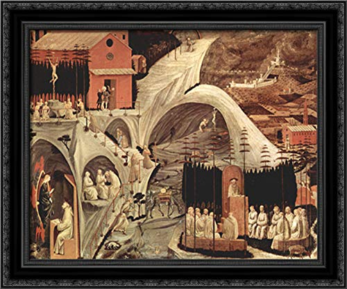 Episodes of The Hermit Life 24x20 Black Ornate Wood Framed Canvas Art by Paolo Uccello