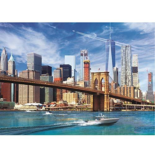 ZXX5D Paint By Numbers New York Lienzos Para Pintar Acrilico Pintura Guiada Por Numeros Paisaje Diy Pintura Al Oleo Por Numeros Pinturas Por Numeros Kits Sin Marco(A164)